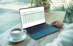Pessoa sentada com um portátil em cima da mesa com um ficheiro Excel aberto e uma chávena de chá na mesa